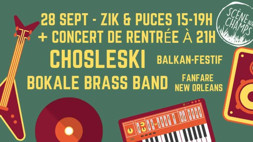 Vide grenier musique zik & puces et concerts de rentrée de l'association Scène aux Champs à la Mamisèle à Saubrigues.