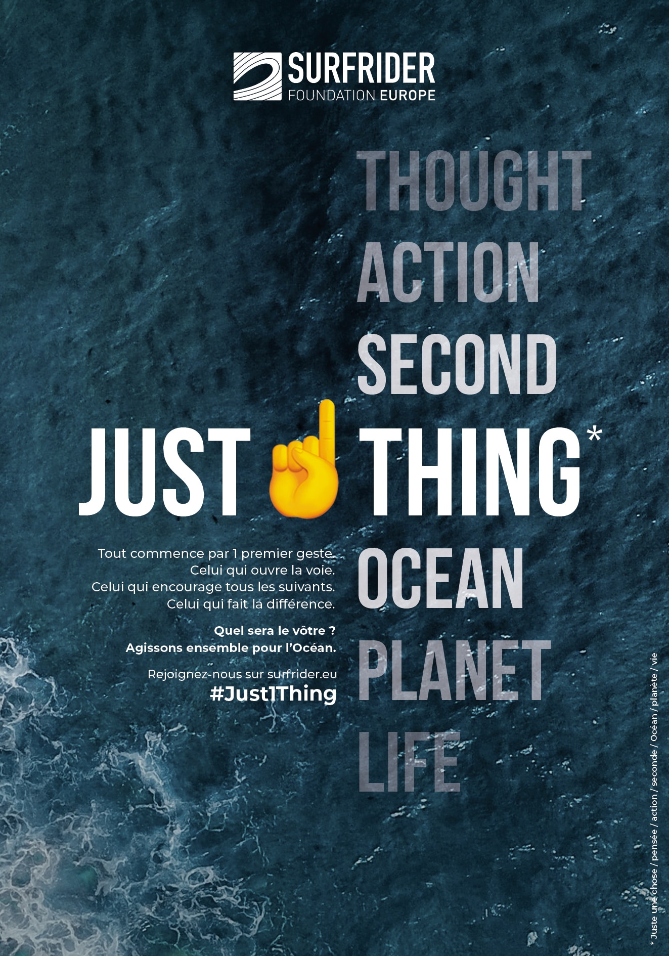 Just1thing for the planet life ocean Surfrider fundation Europe