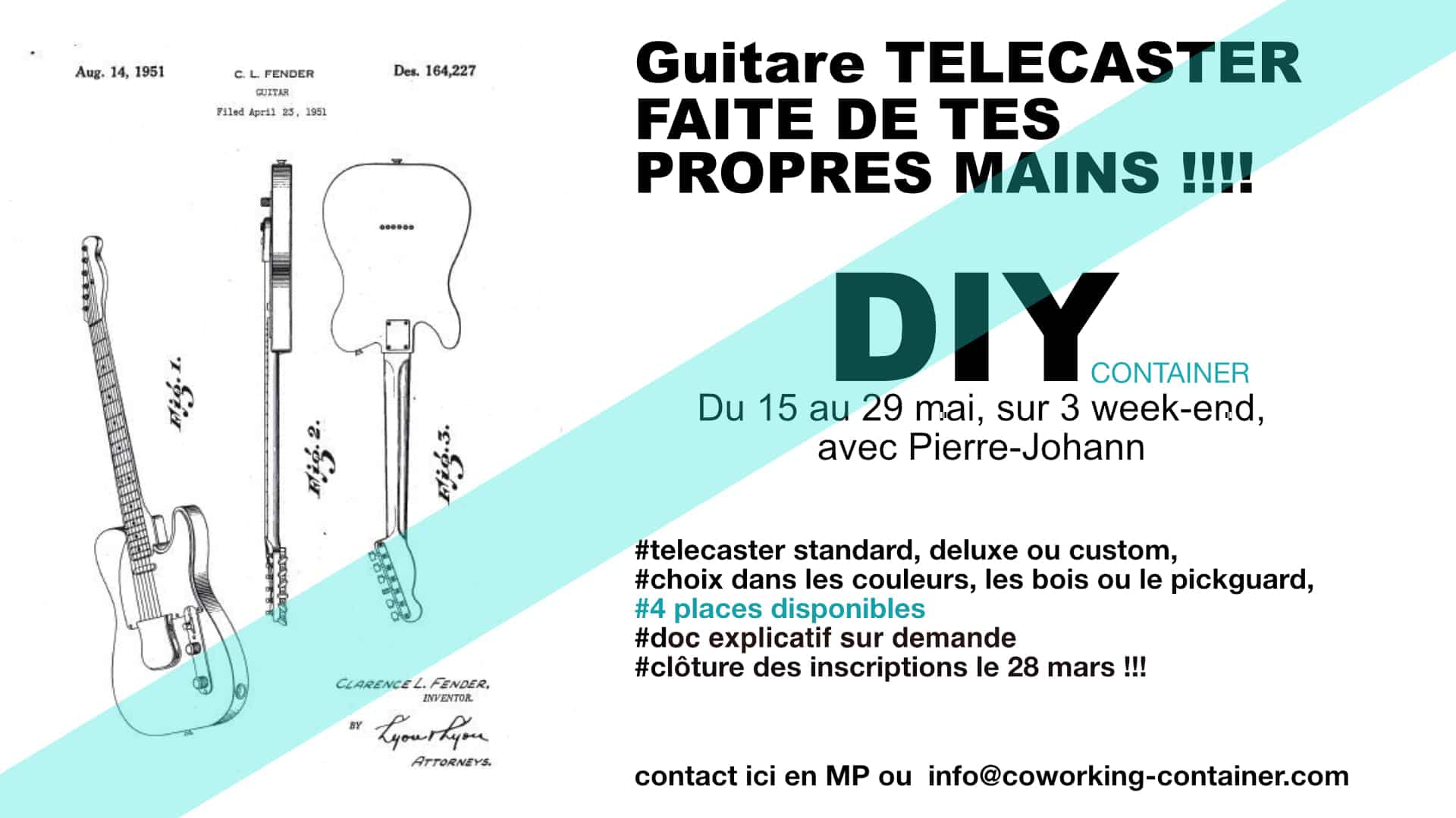 Atelier DIY Telecaster Container Angresse Landes